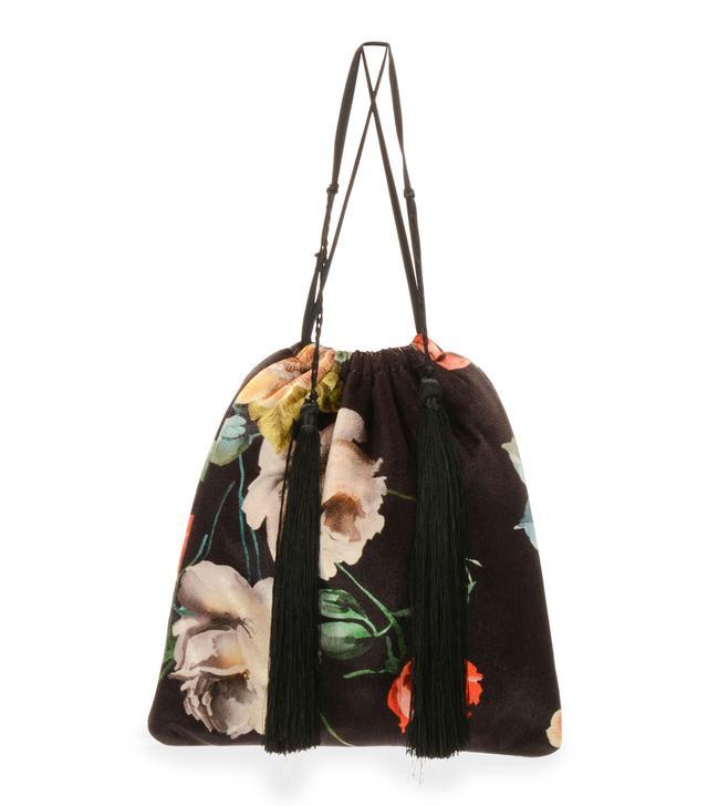 Printed Floral Velvet Pouch Bag