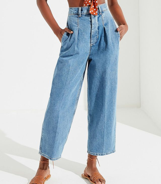 High-Rise Pleated Carrot Jean