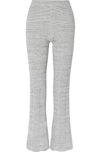 Joan Ribbed Cotton-blend Flared Pants