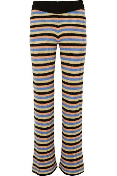 Striped Cashmere Flared Pants
