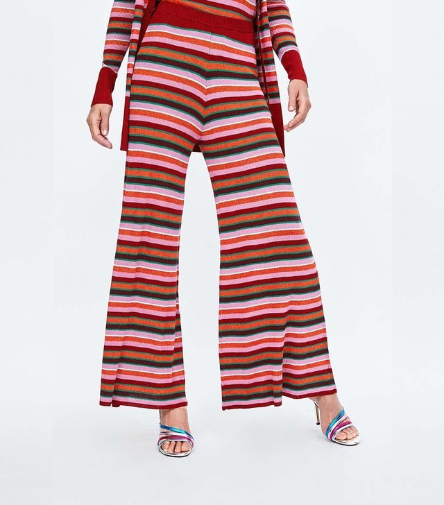 Zara Striped Pants With Metallic Thread