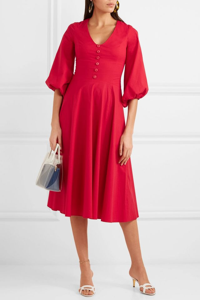 Veronica Stretch Cotton-Poplin Dress