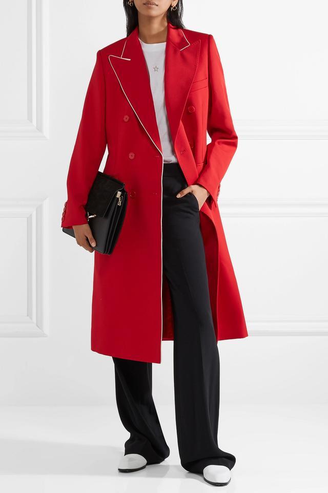 Silk-Trimmed Wool-Twill Coat
