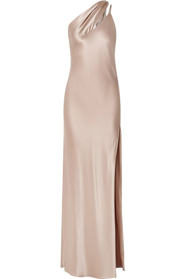 One-shoulder Silk-charmeuse Gown