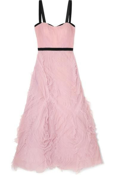 Velvet-trimmed Tulle Gown