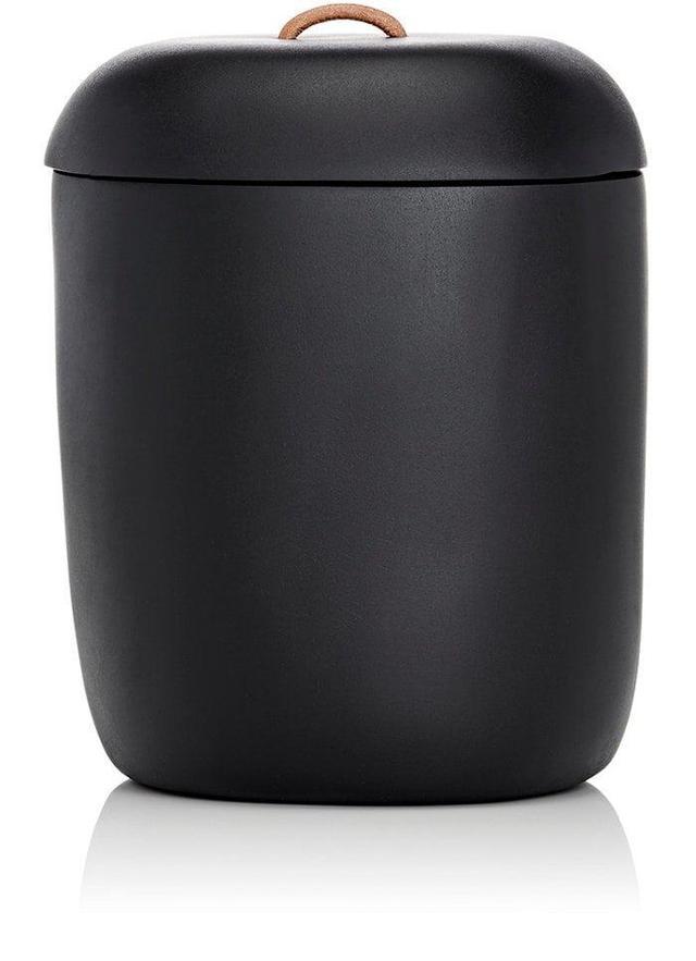 Lidded Ice Bucket With Leather Handle