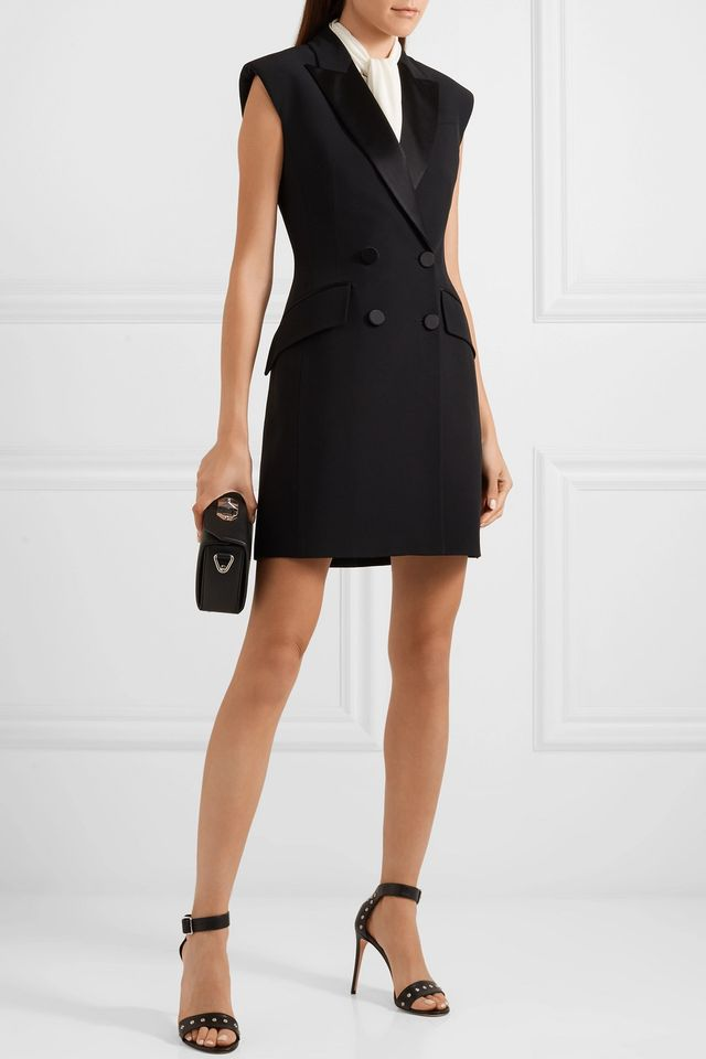 Double-Breasted Crepe Tuxedo Mini Dress