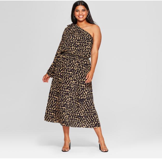 Women's Plus Size Leopard Print Long Sleeve One Shoulder Midi Dress