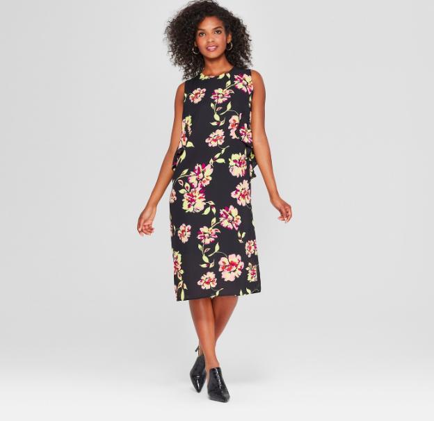 Women's Floral Print Sleeveless Ruffle Midi Dress - Who What Wear™ Black