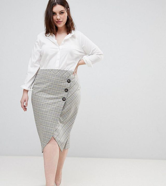 ASOS DESIGN Curve tailored midi skirt in check with button wrap detail