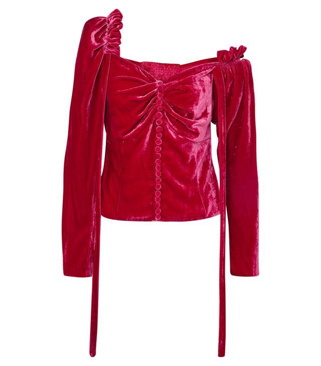 Leticia One-shoulder Ruffled Velvet Top