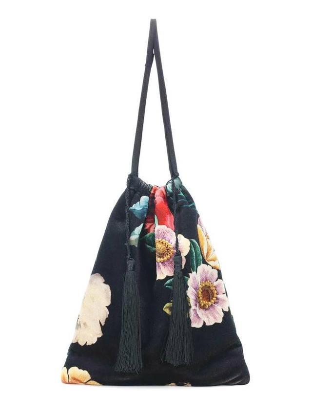 Floral-printed velvet pouch