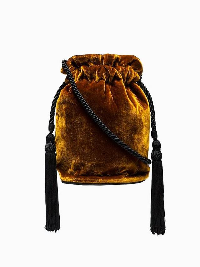 Hunting Season Yellow Tula Velvet Tassel Pouch