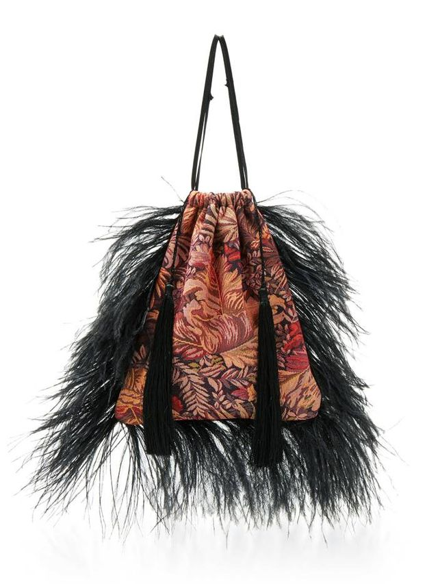 Jacquard Pouch Bag and Feathers