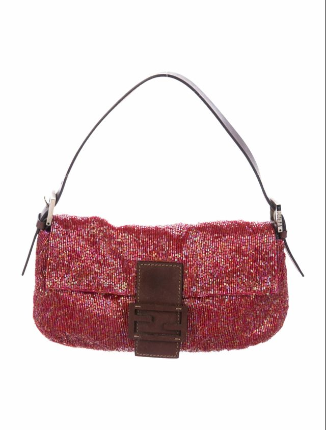 Fendi Leather-Trimmed Beaded Baguette