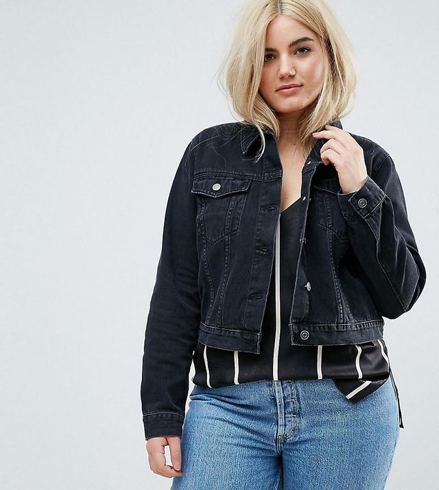 ASOS DESIGN Curve denim shrunken jacket in washed black