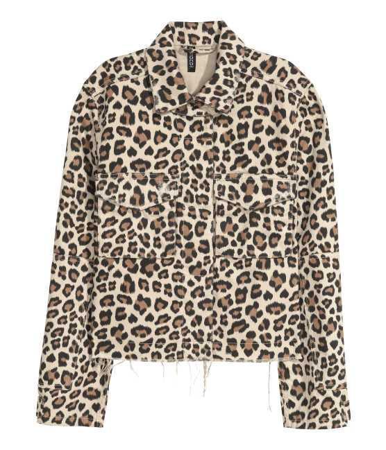- Denim Jacket - Beige/leopard print - Women