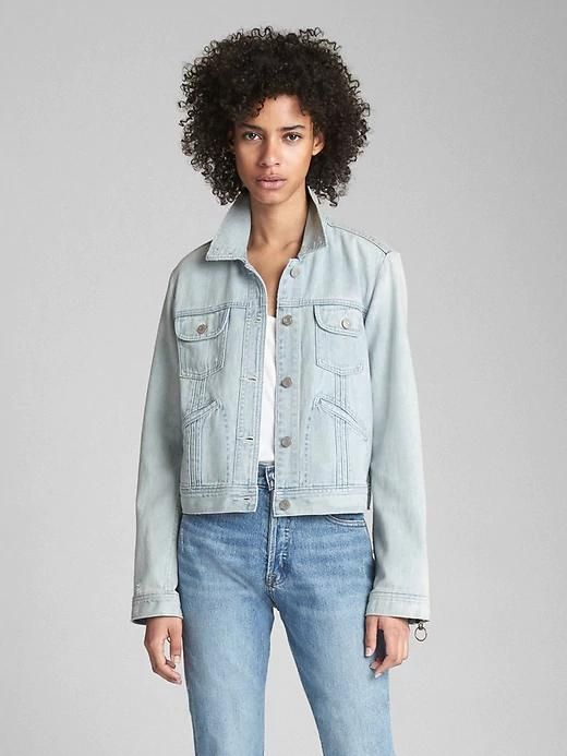 Womens Pleated Denim Jacket With Ring-Pull Details Light Indigo
