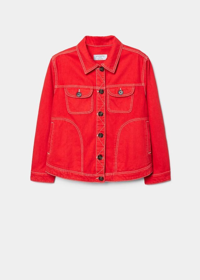 Violeta Contrasted Seams Denim Jacket