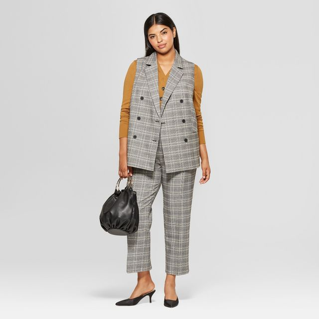 Plus Size Plaid Sleeveless Suit Vest