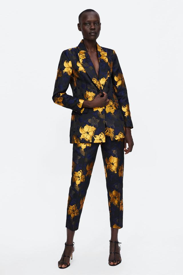 Zara Floral Jacquard Blazer