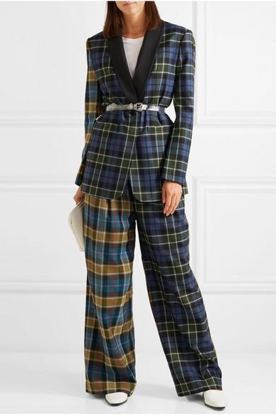 Oversized Belted Tartan Wool Blazer