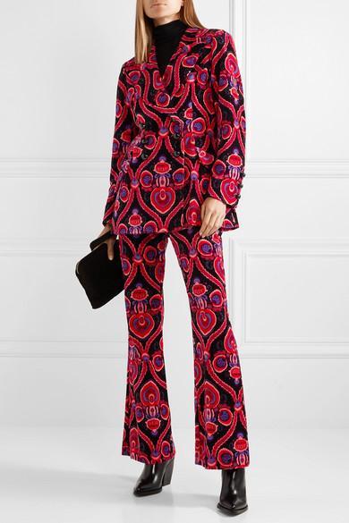 Arabesque Double-breasted Printed Cotton-velvet Blazer