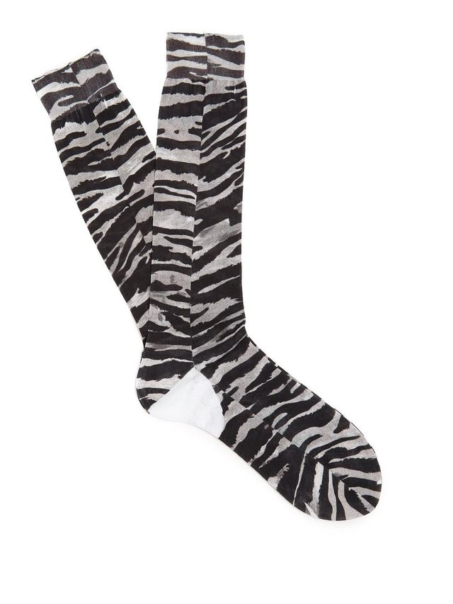 Tiger-print cotton socks