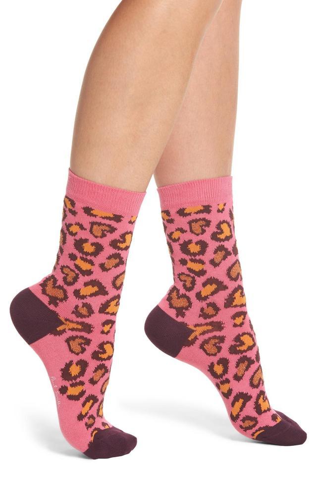 Edie Leopard Crew Socks