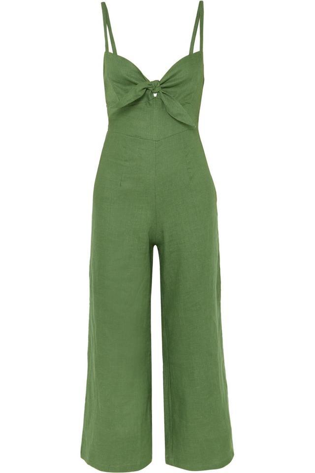 Presley Cropped Tie-front Linen Jumpsuit