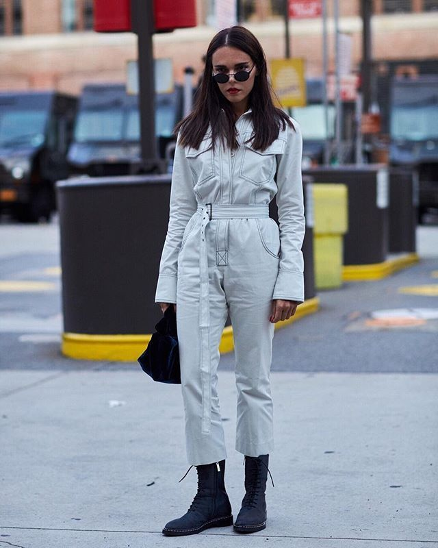 White denim jumpsuit outfit