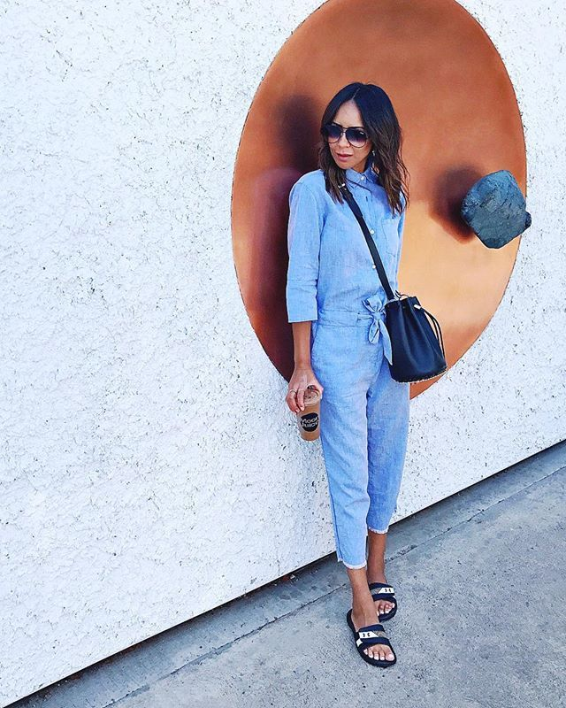 Simple denim jumpsuit outfits