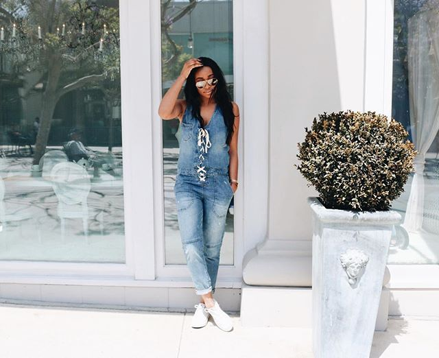 Light denim jumpsuit outfits