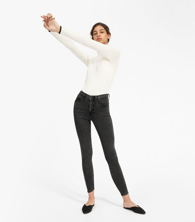Everlane Authentic Stretch High-Rise Skinny Ankle Jeans in Washed Black