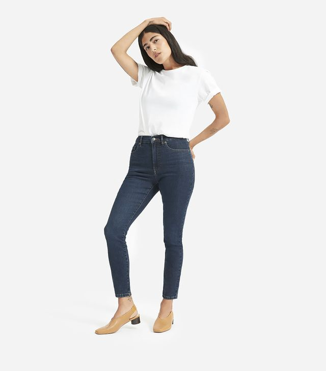 Everlane Authentic Stretch High-Rise Skinny Ankle Jeans in Dark Blue Wash