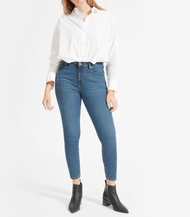 Everlane The Authentic Stretch Mid-Rise Skinny Ankle Jeans in Mid Blue