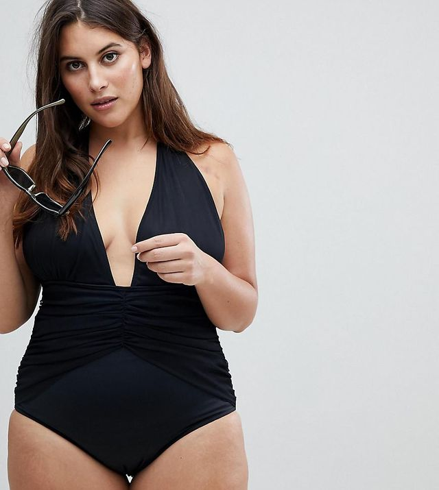 ASOS DESIGN Curve Ruched Waist Plunge Swimsuit