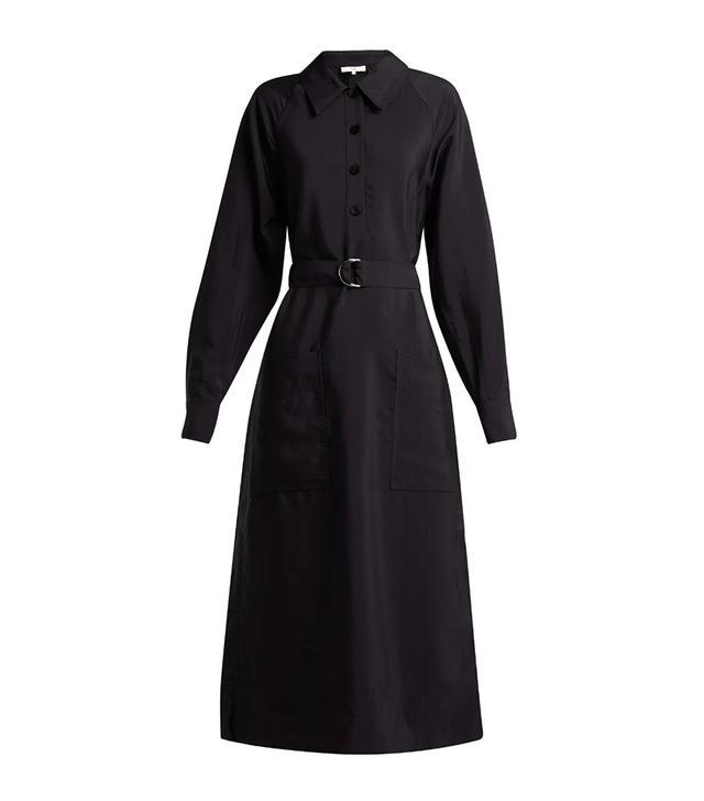 Tibi Belted Twill Midi Dress
