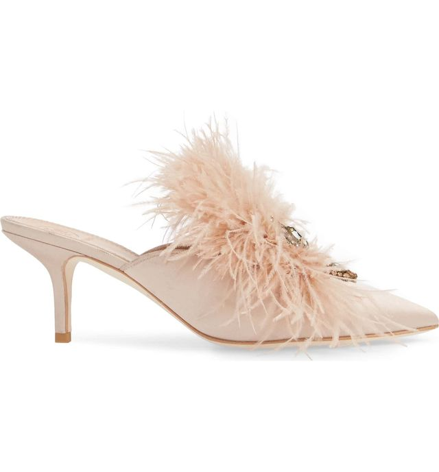 Elodie Embellished Feather Mule