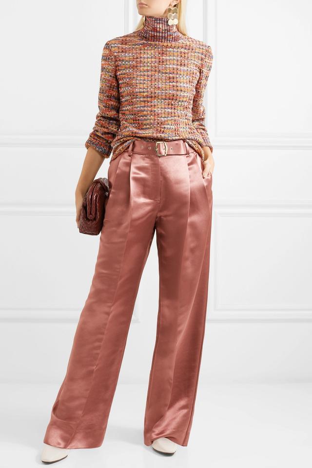 Crochet-Knit Wool Turtleneck Sweater