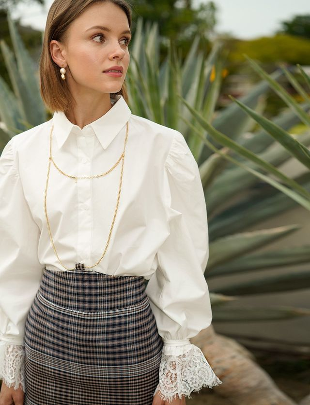 Pixie Market Lacey Cuff Oversize Shirt