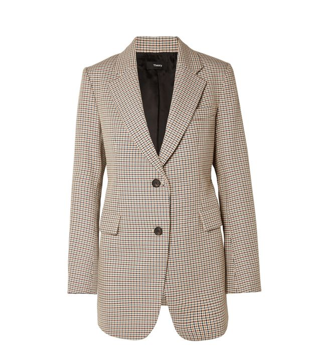 Houndstooth Cotton And Wool-blend Blazer