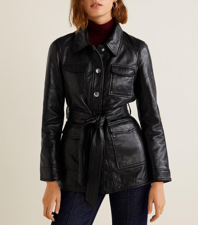 Mango Pockets Leather Jacket