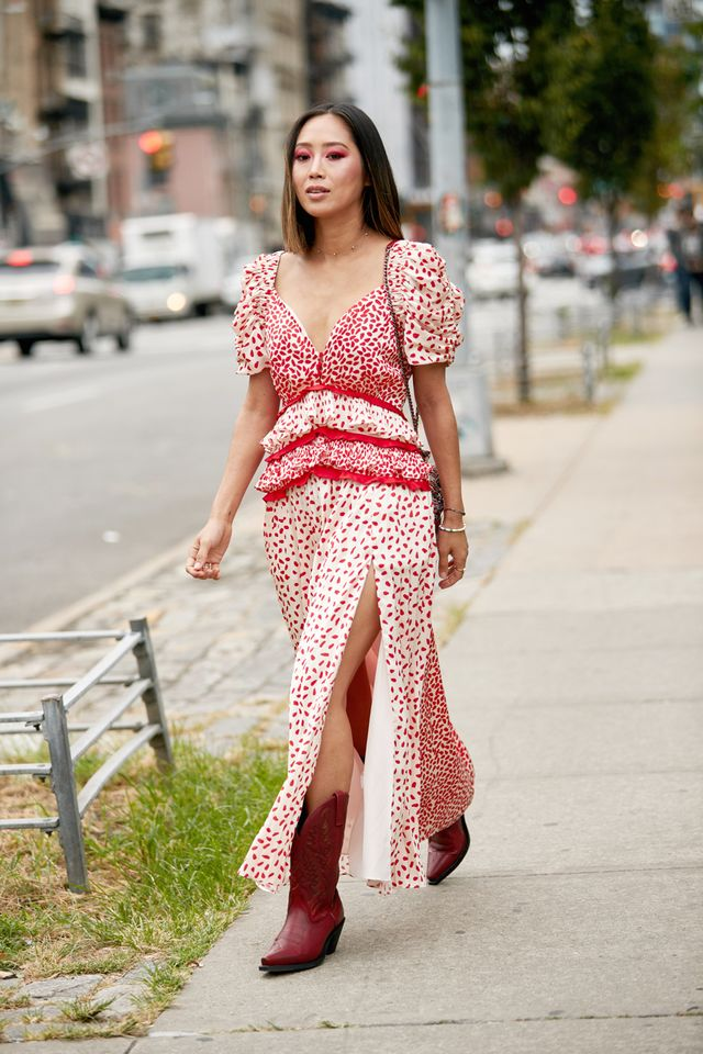 NYFW shoe trends - Aimee Song in cowboy boots