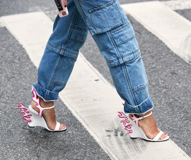 NYFW shoe trends prada flame heels