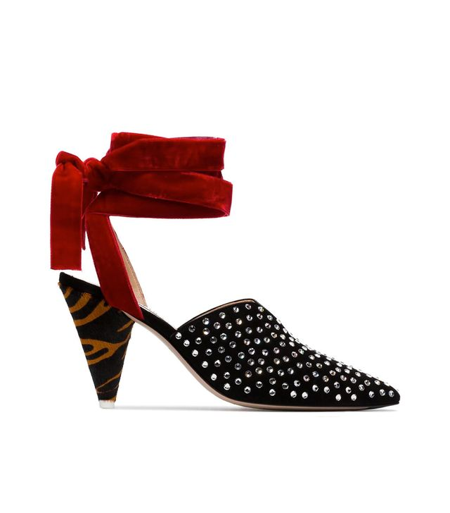 black, red and brown velvet ankle tie crystal embellished 90
