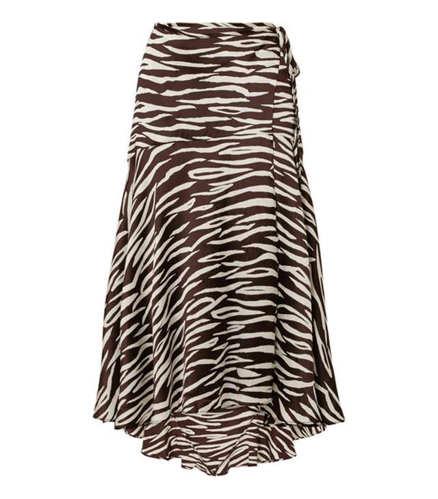 Blakely Zebra-Print Stretch-Silk Satin Wrap Skirt