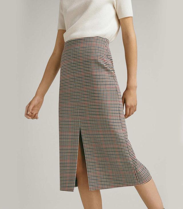 Massimo Dutti Check Wool Skirt