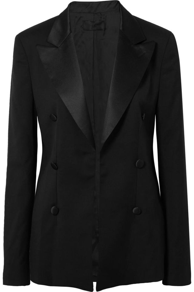 Grayson Silk Satin-Trimmed Wool Blazer