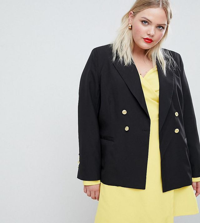 Jersey Blazer With Gold Button Detail